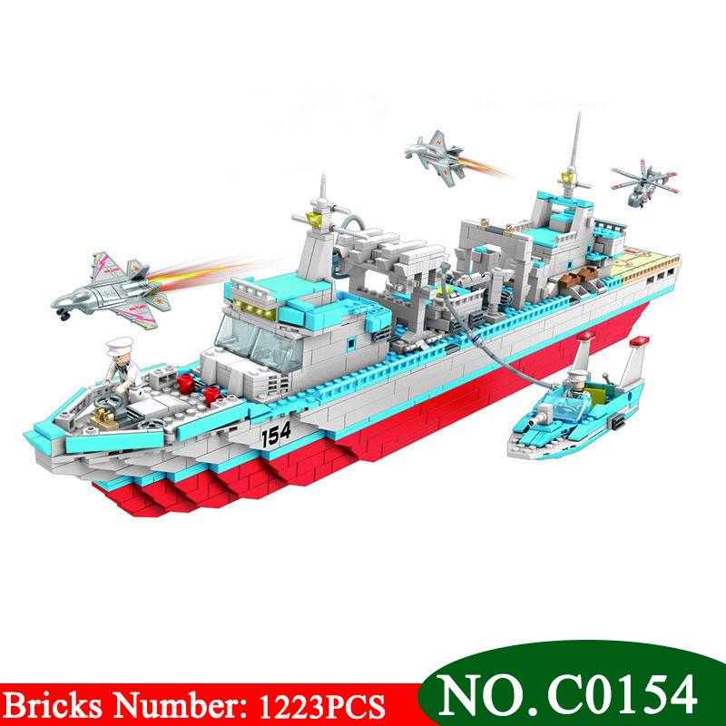 1223PCS C0154 Military series depot ship Building Blocks set Great Gift DIY Educational Funny Bricks Toys