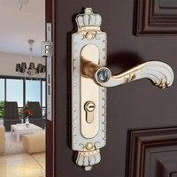 European fashion simple glass crystal live room book room wooden locks Aluminum alloy amber white Mechanical door handle locks