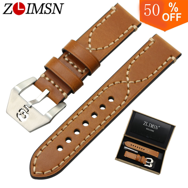 ZLIMSN High Quality Hollow Skull Buckle for Men Genuine Leather Thick Watch Bands 20 22 24 26mm 316L Stainless Steel Clasp zlimsn high quality thick genuine leather watchbands 20 22 24 26mm brown watch strap 316l brushed silver stainless steel buckle
