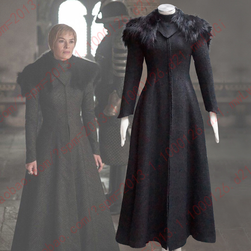Game Of Thrones Queen Cersei Lannister Cosplay Costume Winter Black Long sleeve fur Shawl Halloween Costumes for Women