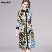 Banulin Runway Fashion Designer Spring Dresses Womens Long Sleeve Gorgeous Printed Belted Dress Loose Mini Shirt B5117