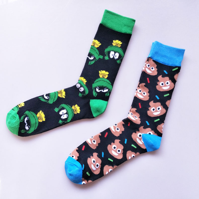 Cartoon Frog Poo-Poo Funny Harajuku Man Happy Cotton Socks New Personality Casual Street Hip Hop Skater Male Socks Autumn Winter