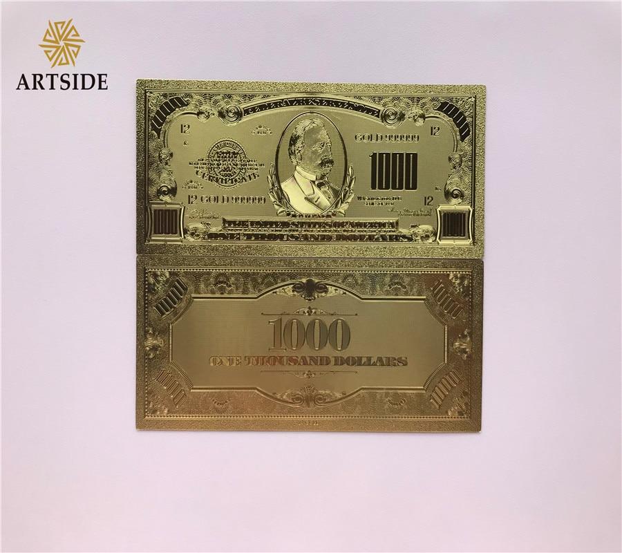 24K Gold Foil Plated $1000 Gold Dollar Novelty Bill Banknote Christmas Gift
