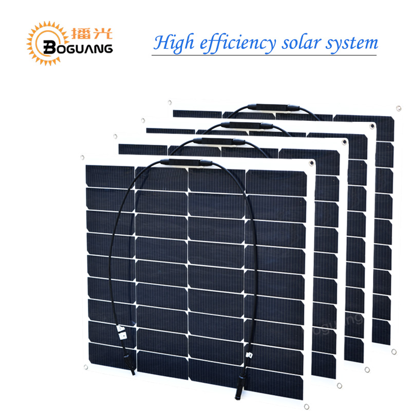 BOGUANG 4pcs 18v 50w semi flexible solar panel 200w solar module cell MC4 connector for 12v battery light RV yacht car charger boguang 16v 90w solar panel quality cell aluminum board for home system car rv boat yacht 12v battery charger