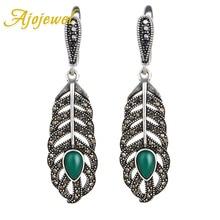 Ajojewel Unique Black Crystal Rhinestone Feather Earrings For Women Green Jewelry Vintage Ladies Drop Bijoux