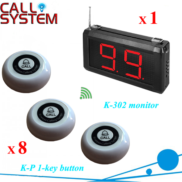 Restaurant Wireless Table Call System 1 display 8 1-key transmitter for customer use wireless service call bell system popular in restaurant ce passed 433 92mhz full equipment watch pager 1 watch 7 call button