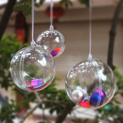 Plastic clear christmas decorations hanging ball bauble for Outdoor christmas baubles