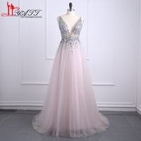Vestido Longo Pink Long Prom Dresses Evening Gown 2017 Crystal Open Back Prom Dresses Robe De Soiree Fast Shipping MN090