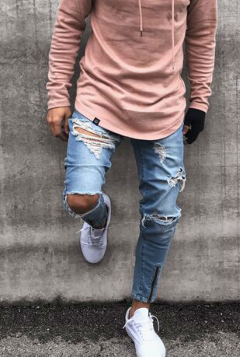 Men Fashions Trend Holes Jeans Man Motocycle Bound Feet Pants 2018 Men Slim Denim Jeans Men Zipper Roupas Masculinas Jeans Mens