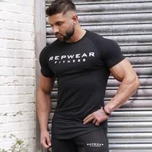 Новинка, летняя хлопковая футболка для занятий фитнесом, Мужская футболка, брендовая одежда, спортивная футболка, Мужская футболка с принтом, короткий рукав, футболка для бега