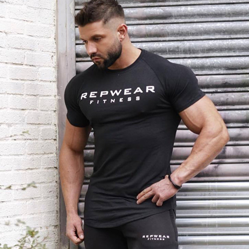 2019 nouveau été chemise coton gym fitness hommes t-shirt marque vêtements sport t-shirt homme imprimé à manches courtes course t-shirt