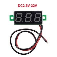 1 шт 0,28 дюйма две линии мини-вольтметр DC2.5V-30V отображение напряжения на светодиодном дисплее измерительный прибор с цифровым дисплеем вольтметр, четыре цвета дополнительно