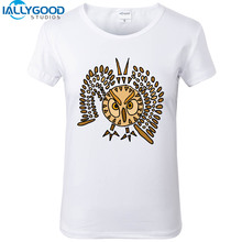 New Summer Fashion Funny Cool Owl in Flight Abstract Art T-Shirts Women Soft Cotton Printed White T Shirts Tops S1176