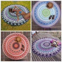 Summer Beach Throw Towel Indian Mandala Classic Round Elephant Tapestry Wall Hanging Yoga Mat Decorative Round Beach Cover-Ups(China)