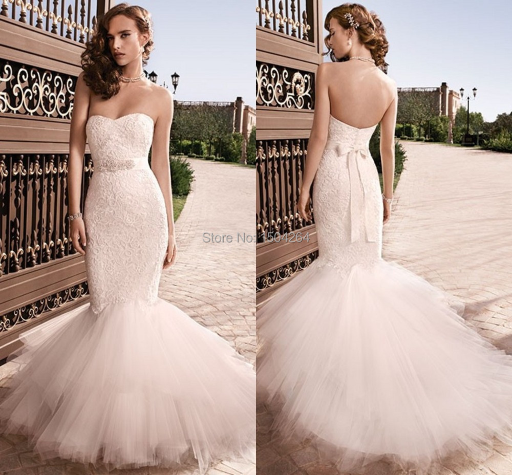 blush mermaid wedding gown for fashionable brides blush mermaid wedding dress Blush lace mermaid gown