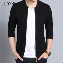 LLYGE 2018 Autumn Men Knitted Cardigan Long Sleeve Solid Color Casual Sweater Coat O Neck Zipper Male Slim Sweaters Cardigans