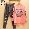 2017 Novo Estilo de Primavera e Outono Das Mulheres Conjuntos de Pijama Outono Pijamas Pijamas noite das meninas Homewear Para As Mulheres Camisola
