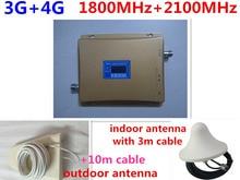 Gain 70dB GSM RÉPÉTEUR 2100 et 1800 Double Bande amplificateur cellulaire gsm 3G 4G WCDMA 2100 LTE 1800 Mobile Signal Répéteur lcd affichage