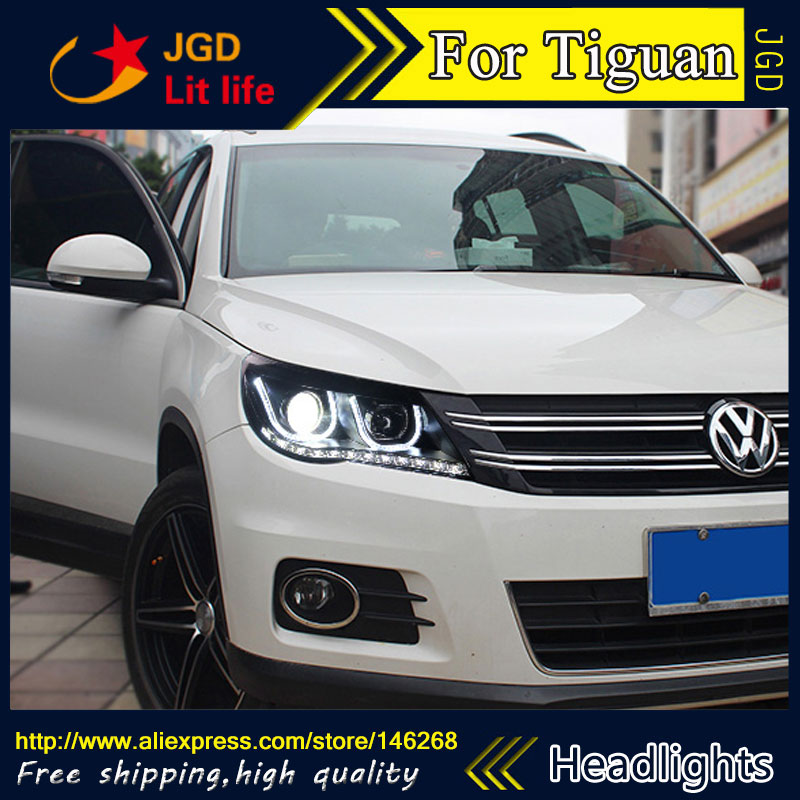 Free shipping ! Car styling LED HID Rio LED headlights Head Lamp case for VW Tiguan 2010-2012 Bi-Xenon Lens low beam brand new superb led cob angel eyes hid lamp projector lens foglights for vw tiguan 2010 2012