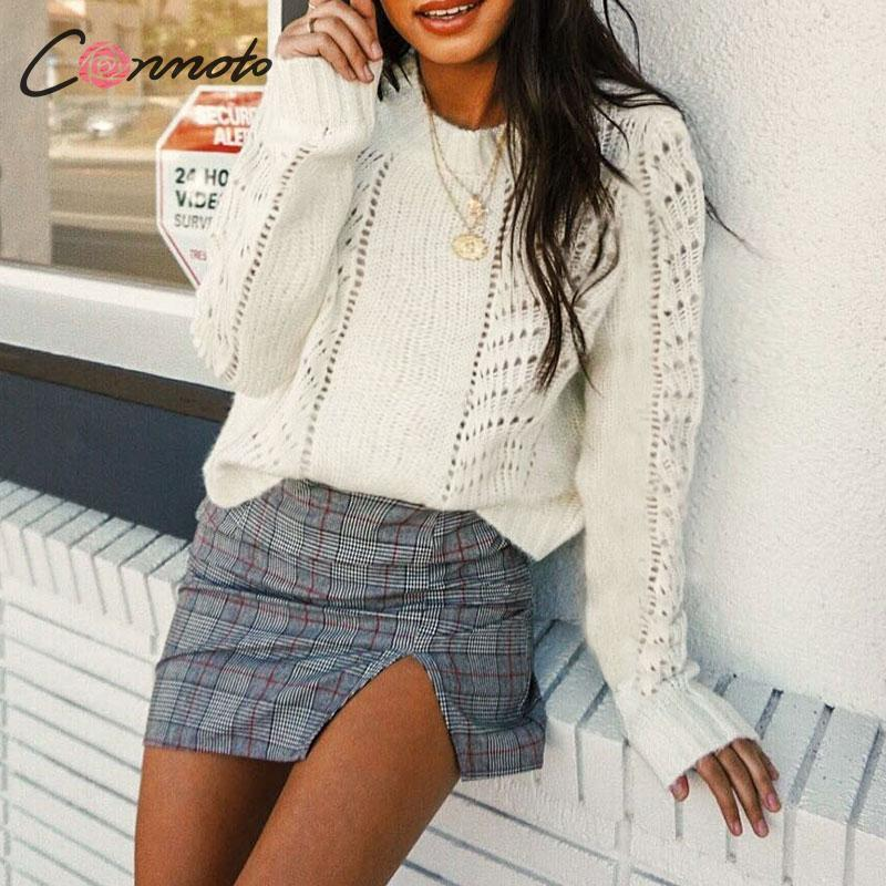 Conmoto Women Autumn Winter Sweater Fashion Hollow Out White Knitted Pullover Female Long Sleeve Loose Jumpers Mujer Knit Tops