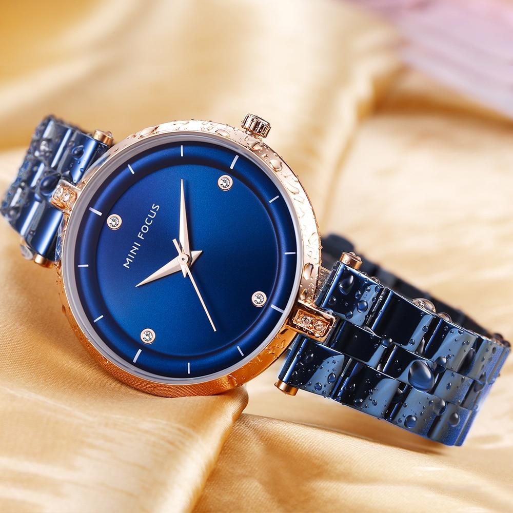 MINI FOCUS Minimalist Royal Quartz Women Watches Top Brand Luxury Blue Analog Clock Stainless Steel Strap Elegant Ladies Watch