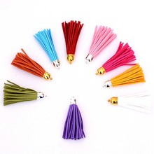 Key Tassel Accessories Handmade Bag Deerskin DIY hanging Tassel fringe 18Color Copper Cap Not Rub Off Flocking Ears Zipper L5169