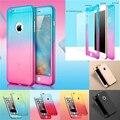 360 градусов Full Body Covered Case Ультра Тонкий Жесткий ПК Крышка с закаленное Стекло Пленка для iPhone 7 Plus 6 6 S 5 5S Градиент цвет