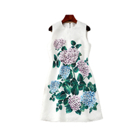 Slim Dresses 2018 Summer New Arrival Fashion Pretty Leaf Flower Print 3D Appliques White Sleeveless Vintage Dress For Women