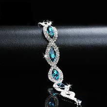 Модный браслет для женщин роскошный с синим кубическим цирконием