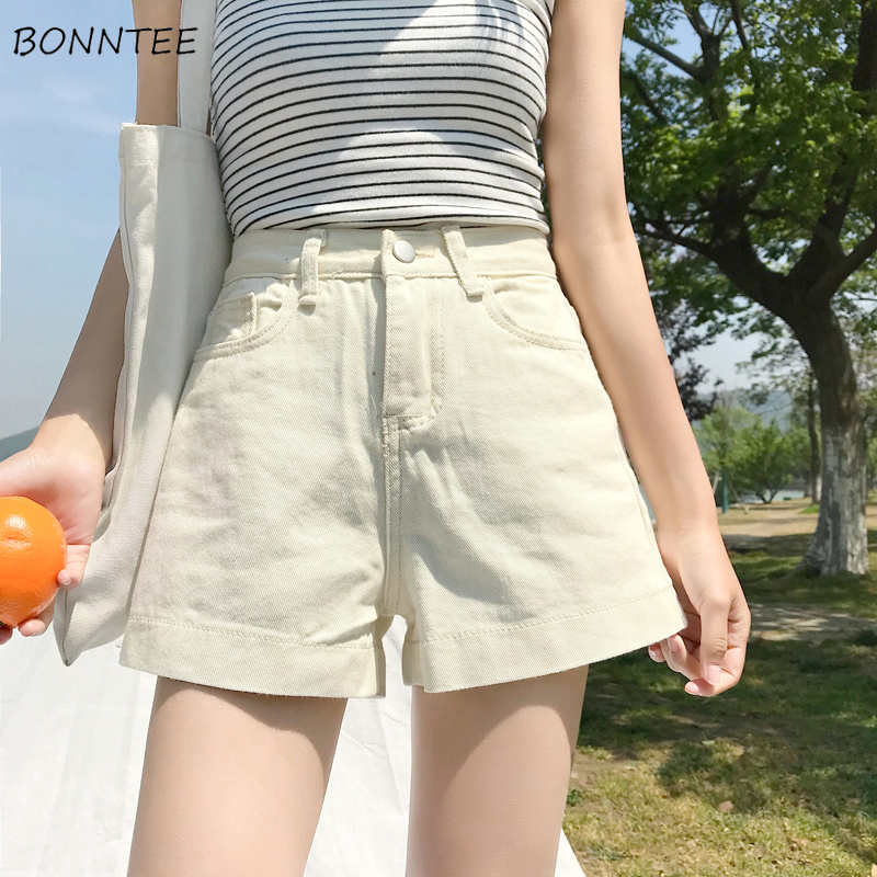 Shorts Women 2019 New High-Waist Loose Straight Simple Solid Colour Womens Soft Female High Quality Korean Style Summer Trendy
