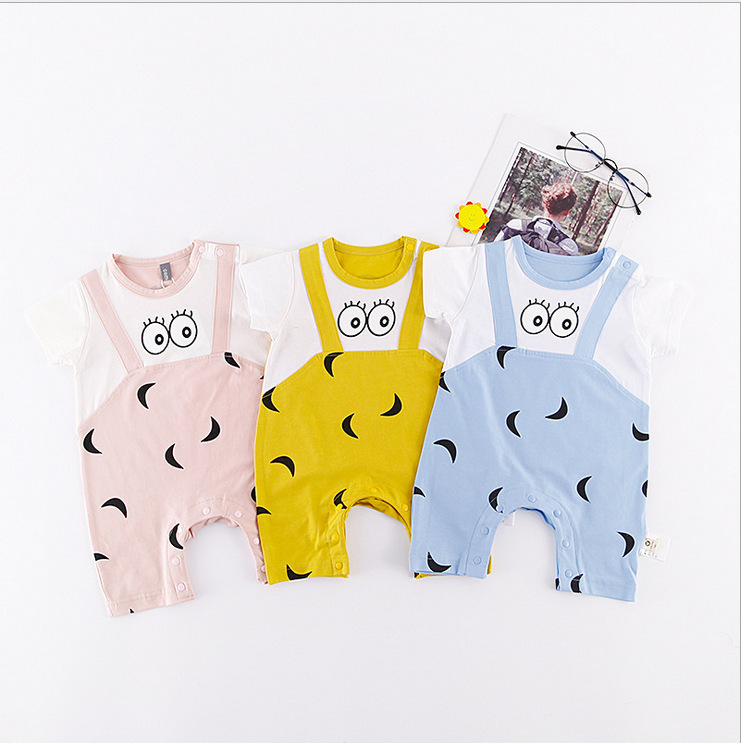 Summer Baby Rompers Newborn Bebe Boy Girl Clothing 100% Cotton Short Sleeves Infant Clothes Patchwork Casual Kids Jumpsuit