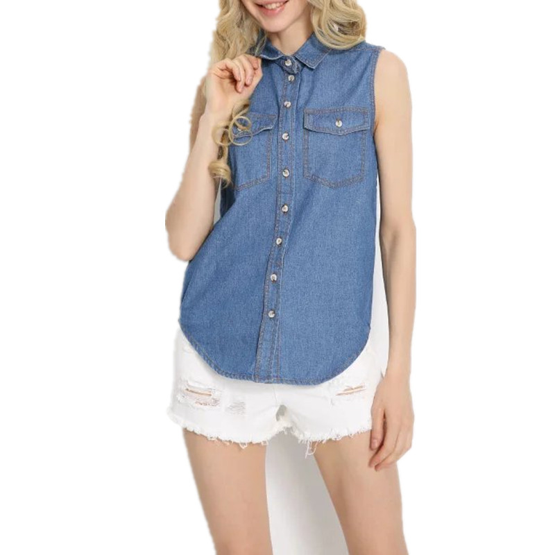 Summer New Blue Ladies Sleeveless Shirt Casual Turn-down Collar Double Pockets Denim Women Tops