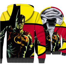 superhero Superman batman jackets funny 3D printed hoodies 2019 winter thicken coats men male casual wool liner tracksuits homme
