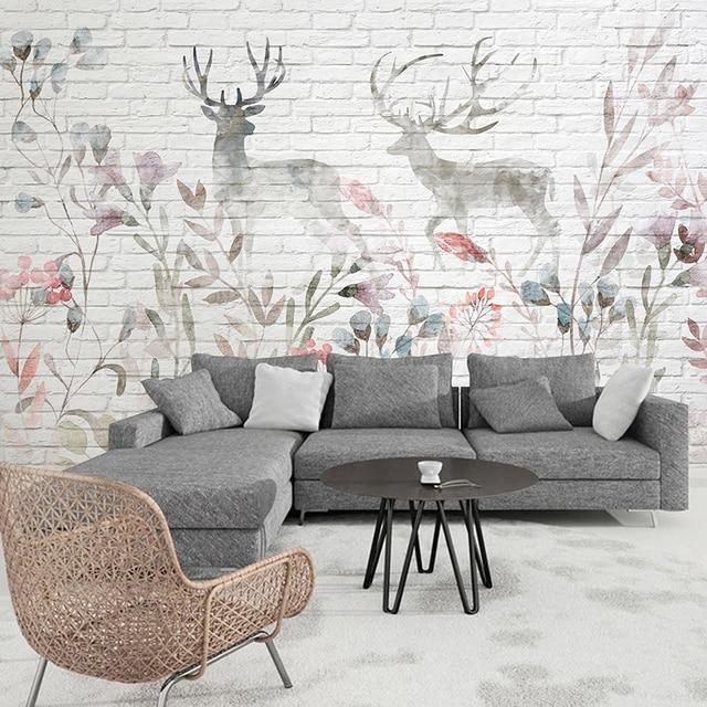 elegant top custom d witte bakstenen muur behang woonkamer