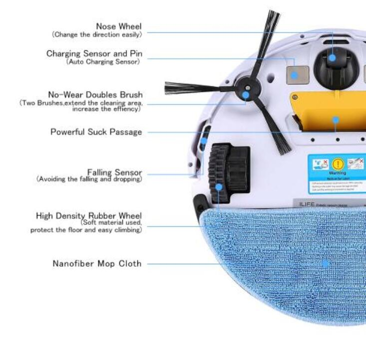 ILIFE V5S PRO Smart Robot Vacuum Cleaner  Wet and Dry  MOP Water Tank HEPA Filter,Ciff Sensor 3