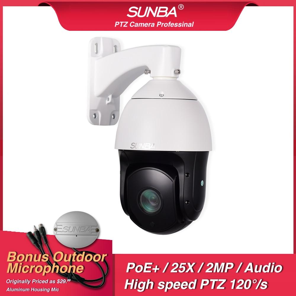 Caméra PTZ extérieure SUNBA IP PoE +, Zoom optique 25X 1080 p, dôme de sécurité ONVIF haute vitesse, mise au point automatique avec Audio, Vision nocturne