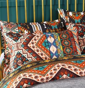 Image 3 - Bomcom Boho Streifen bettwäsche set Ethnische Vintage Hipster Aztec Pastoralen Land Stil Böhmischen Bettbezug set 100% mikrofaser