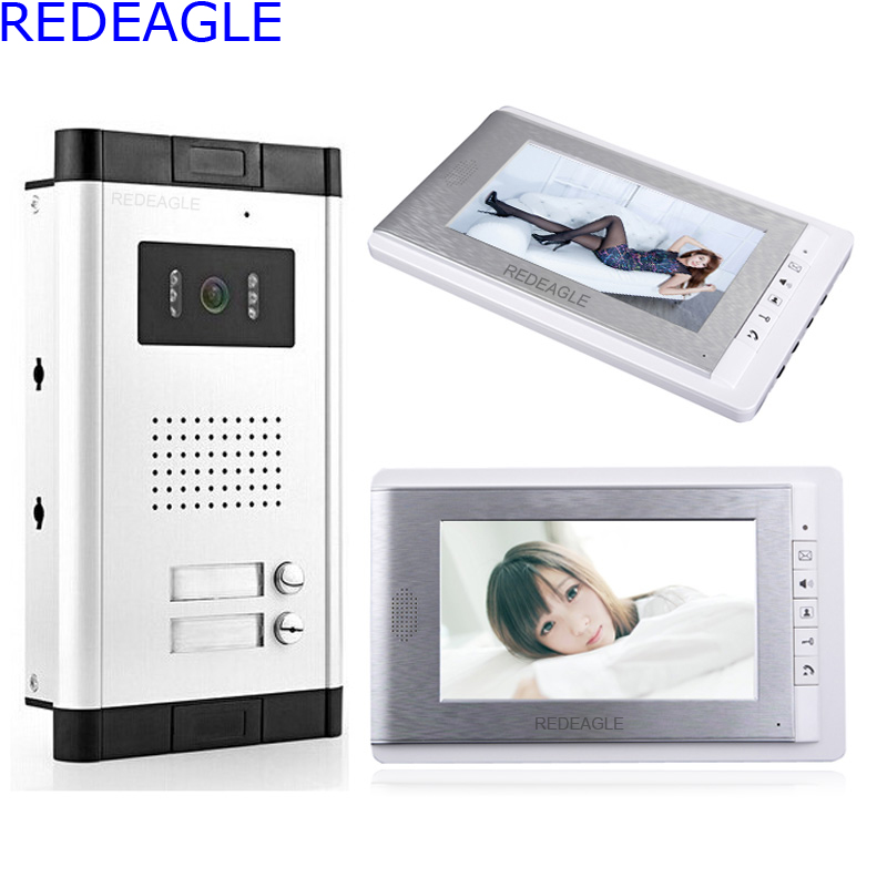REDEAGLE Apartment 2 Units Wired Color Video Door Phone Audio Visual Entry Intercom System 2pcs 7 inch LCD Monitor and Camera diysecur 7 4 wired apartment video door phone audio visual intercom entry system ir camera for 6 families
