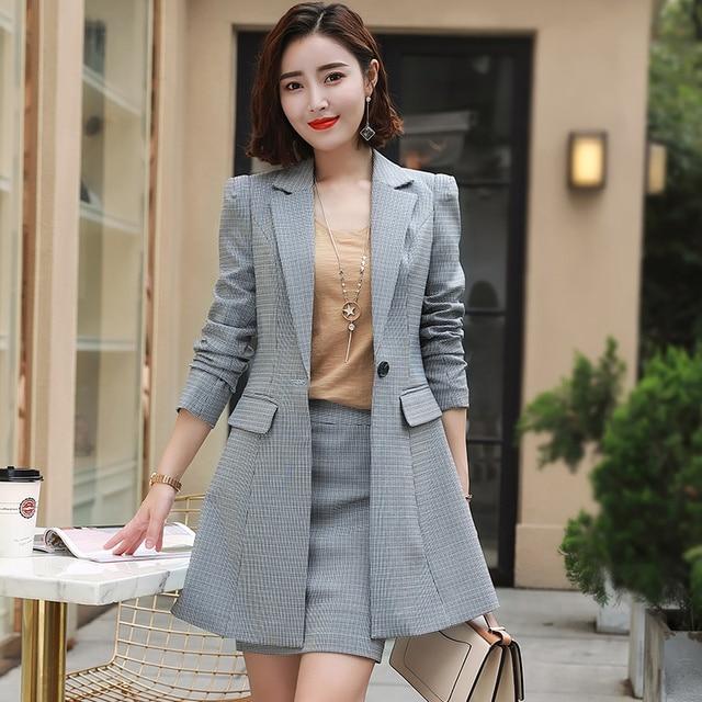 Fashion Autumn Elegant Plaid Blazerskirt 2 Piece Sets Office