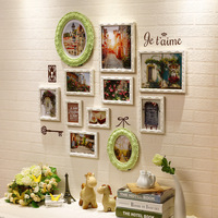 11pcs Baroque White Green Decorative Wall Photo Frame Sets Engraver Frames Wood Romantic For Wedding Decoration