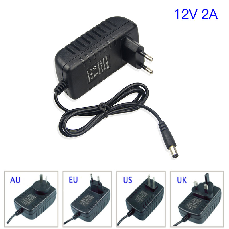 DC 12 V 2A CCTV Surveillance Camera Power supply EU US AU UK plug-in cctv power adapter work for hikvision camera and microphone ctvman power supply adapter 12v 1a with eu us uk plug for cctv security surveillance ip analog network camera dvr recorder used
