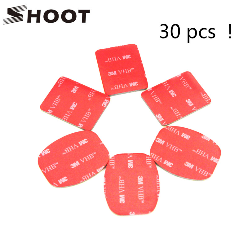 SHOOT 30Pcs Red 3M VHB Adhesive Sticker 15 Curved 15 Flat Double Side Adhesive Tape For Gopro hero 4 3+ 2 3 SJ4000 Helmet Mount