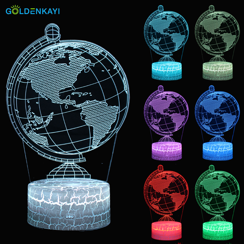3D LED Night Lights Globe Atmosphere Table Lamp Touch Switch Seven Colors Acrylic For Children Bedroom Decorative Lamp image