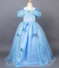 Top Costume Cinderella Princess Girls Dress Vestidos Elsa&Anna Dress Kid Baby Clothing Summer Disfraz Party Cospaly Dresses
