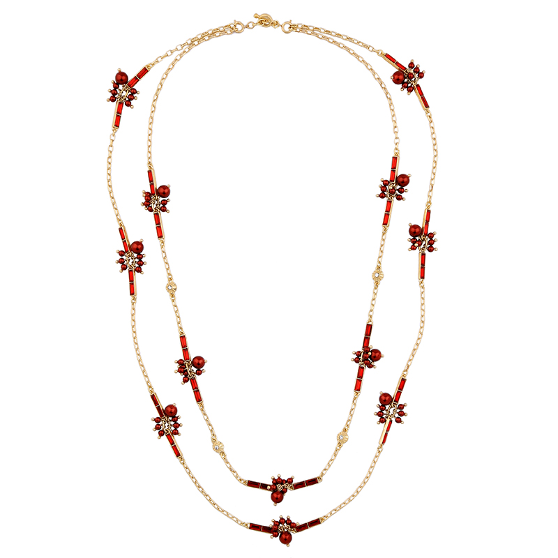 Women Two Layers Statement Long Necklace Red Black Removable Chain Acrylic Beads Necklace Accessories