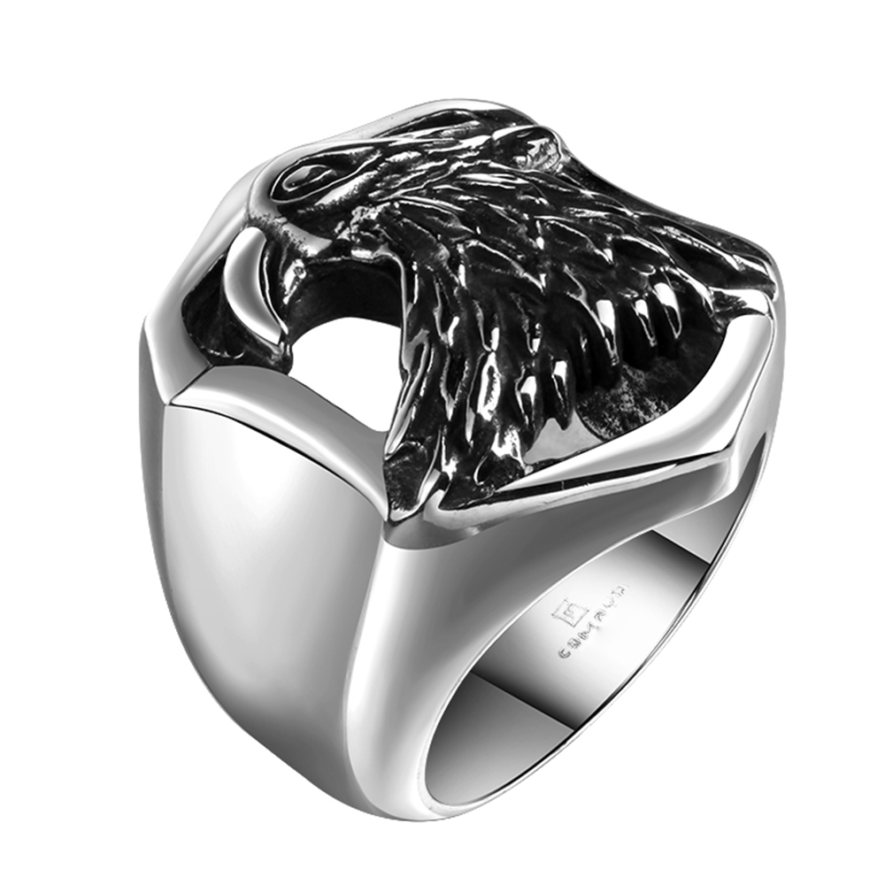 Beautiful High Quality 316l Stainless Steel Distinctive Prevalent Eagle Ring Hiphop/rock Noble Anelli Retro Style Steel Ring