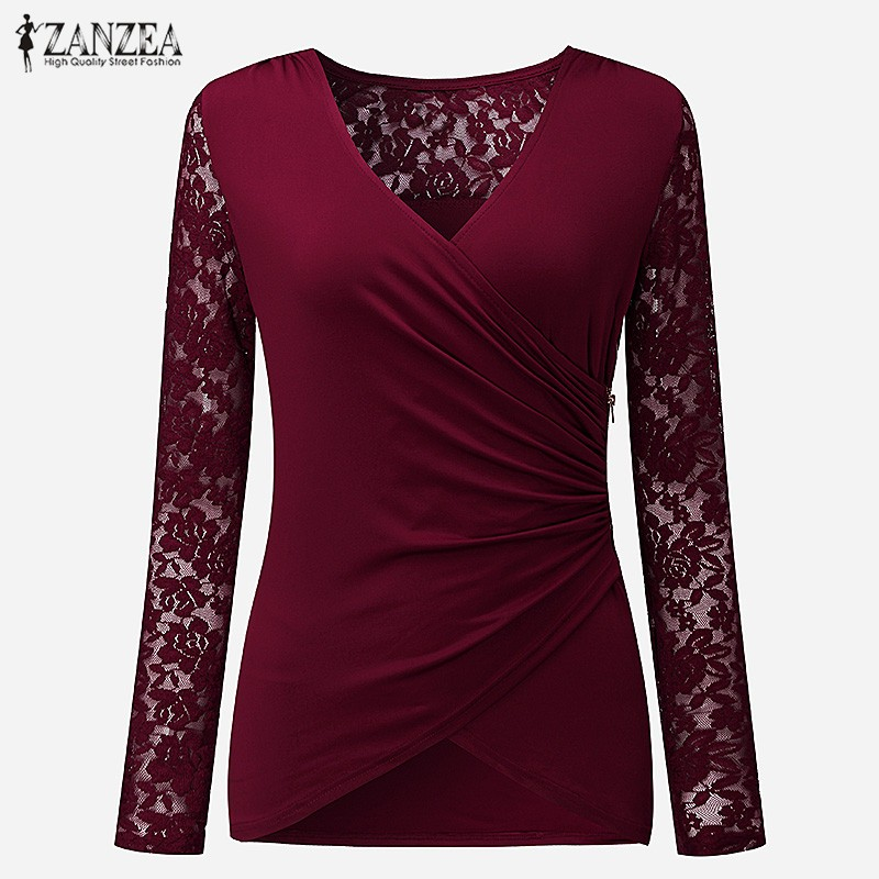 HTB1SyBqOXXXXXcgXVXXq6xXFXXXG - Women Lace Blouses Tops 2017 Autumn Sexy V Neck Long Sleeve