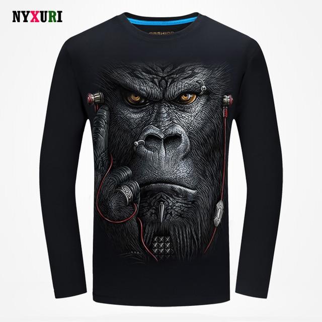 2016 Marca Camisa Dos Homens T 3D Animal Impresso T-shirt Masculina Manga longa Slim Fit O Pescoço Casual Camiseta Top De Algodão Respirável qualidade