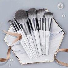 12 шт./компл. серый набор кистей для макияжа с мешком для нанесения хайлайтера полировка румяна пудра Контур тени для век деталь Pro Make up инструмент