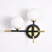 Nordic минималистский настенный светильник Современный стеклянная настенная лампа Американский гостиная спальня свет ванная комната две гол